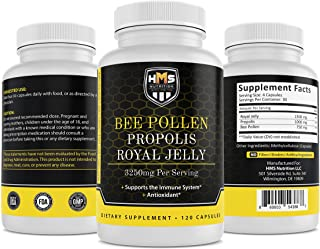 HMS Nutrition Premium Bee Pollen Daily Dietary Supplement - Includes Propolis & Royal Jelly - 3250mg Non-GMO, 120 Vegetari...