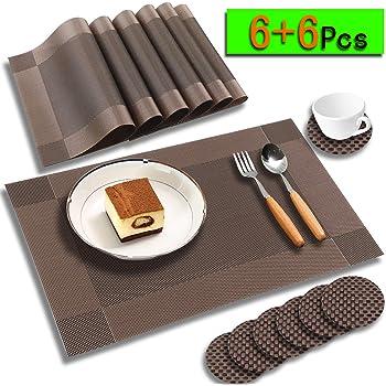 alfombrilla para olla Juego de 6 manteles individuales de silicona para mesa de mesa alfombrilla de calefacci/ón posavasos antideslizantes mesa de cocina y comedor