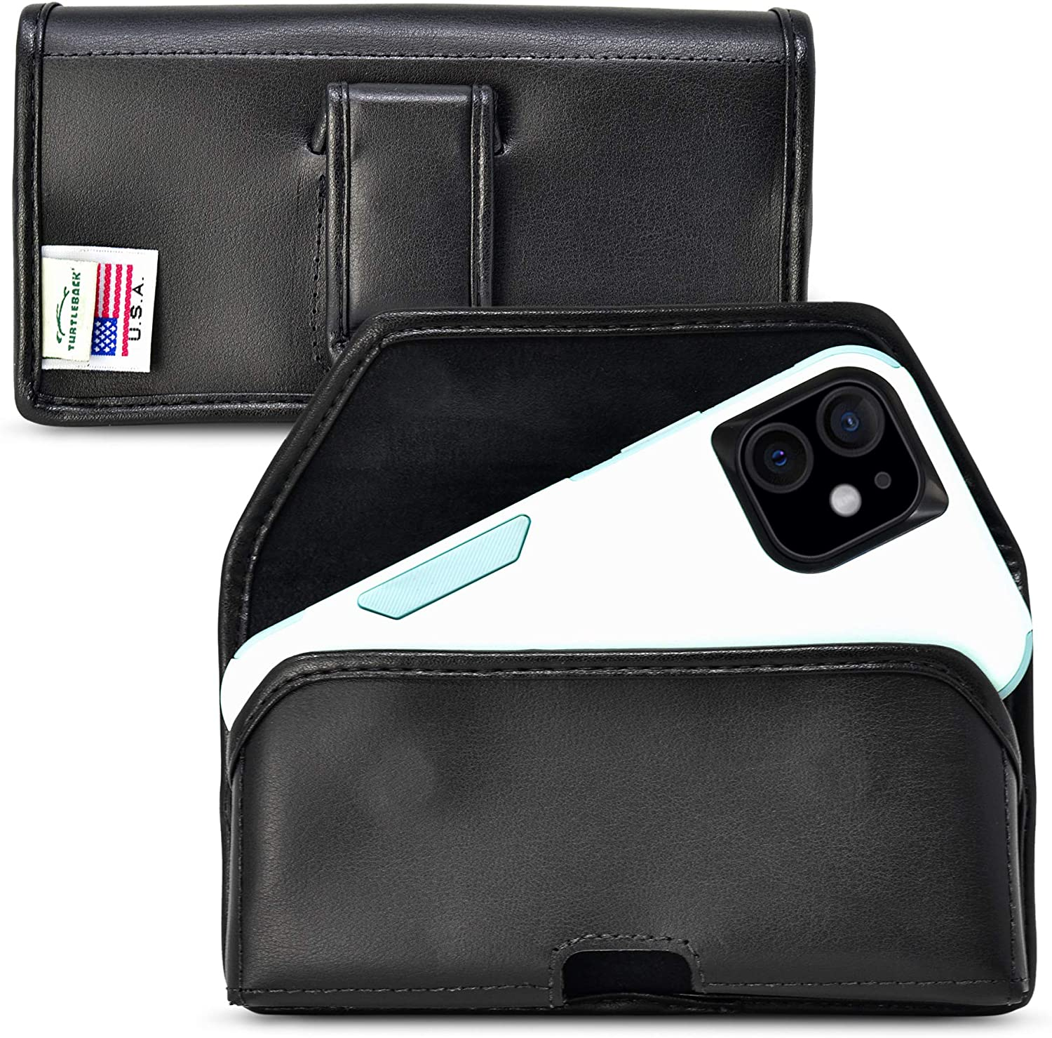 Turtleback Holster Designed for iPhone 12 & 13 Mini Fits with OTTERBOX COMMUTTER, Black Leather Belt Case Pouch with Executive Belt Clip, Horizontal Made in USA