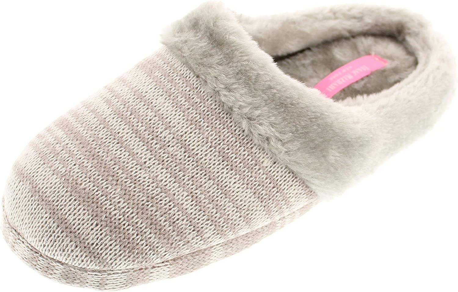 Isaac Mizrahi Women's Camden Marled Heather Knit Memory Foam Clog Slipper with Faux Fur Lining