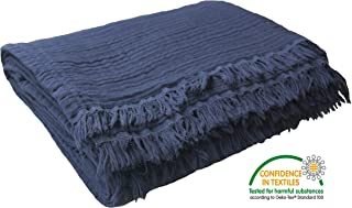 Pre-Washed Organic Muslin Cotton Throw Blanket for Couch, Sofa, Adults and Kids, Breathable Plant Dyed Super Soft Throw, Cozy, Warm Lightweight Blanket, All Seasons (55
