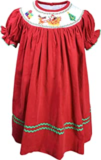 Baby Toddler Little Girls Thanksgiving Christmas Holiday Classic Smocking Dress