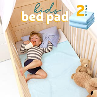 "Kids Bed Pad 2 Pack, Waterproof Mattress Protector 47""x 36"", Reusable Toddler Bed Pads for Potty Training, Cushion Cover"