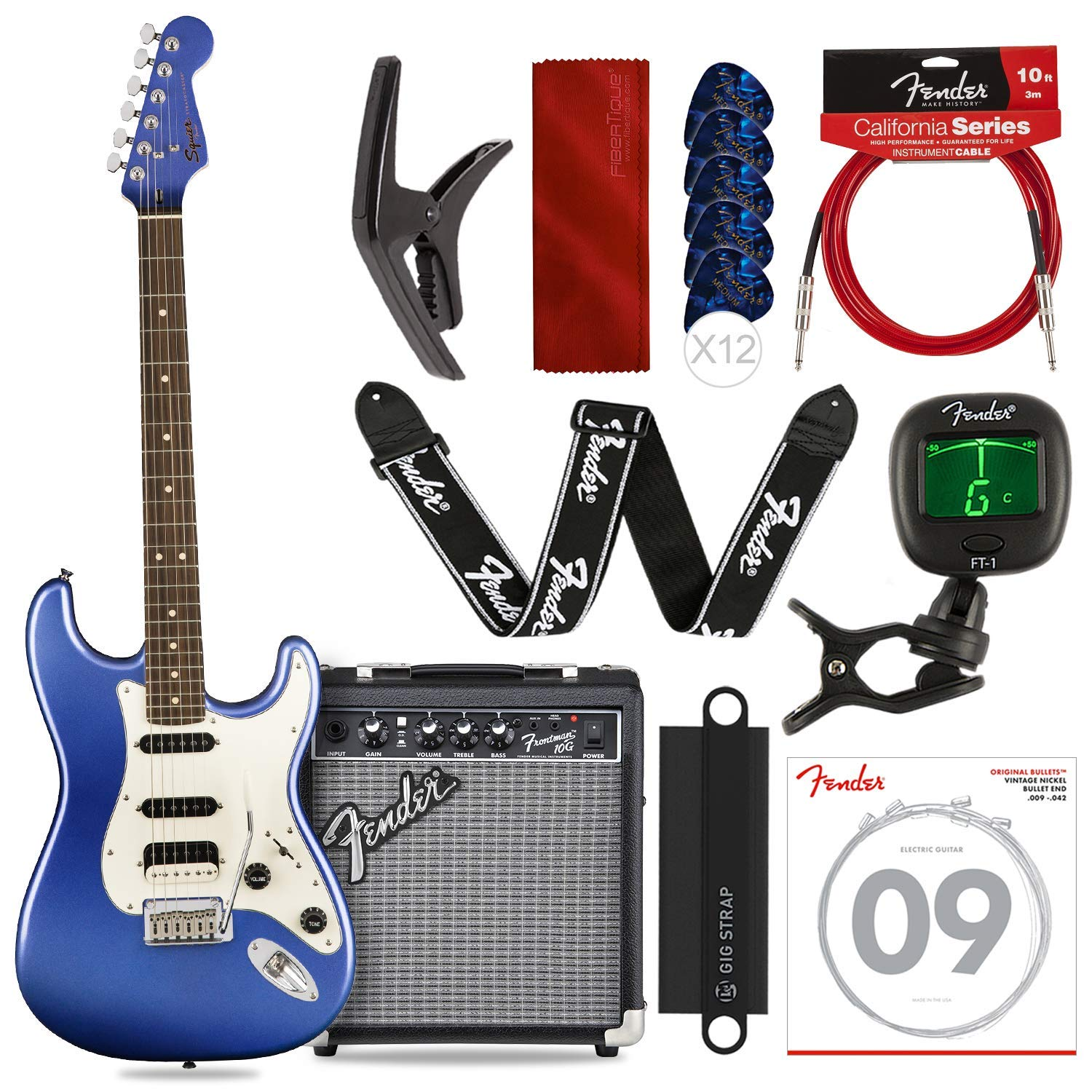Cheap Squier by Fender Contemporary Stratocaster Electric Guitar HSS Ocean Blue Metallic with FRONTMAN 10G Amp Strap Picks Strings & Platinum Bundle Black Friday & Cyber Monday 2019