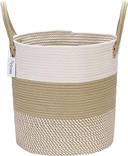 Hinwo Cotton Rope Storage Basket Collapsible Laundry Hamper Nursery Storage Bin Container Organizer with Handles, 15 x 13....