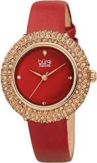 Burgi Women's BUR227 Swarovski Colored Crystal & Diamond Accented Leather Strap Watch Packed in a Beautiful Gift Box