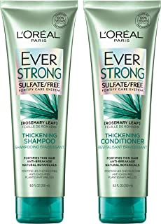 L'Oreal Paris Hair Care EverStrong Thickening Sulfate Free Shampoo & Conditioner Kit, Thickens + Strengthens, For Thin, Fragile Hair,Combo (8.5 Fl Oz each)