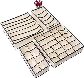 Queta - Set di 4 organizer per cassetti e biancheria intima, per riporre biancheria intima, calze, cravatte, sciarpe