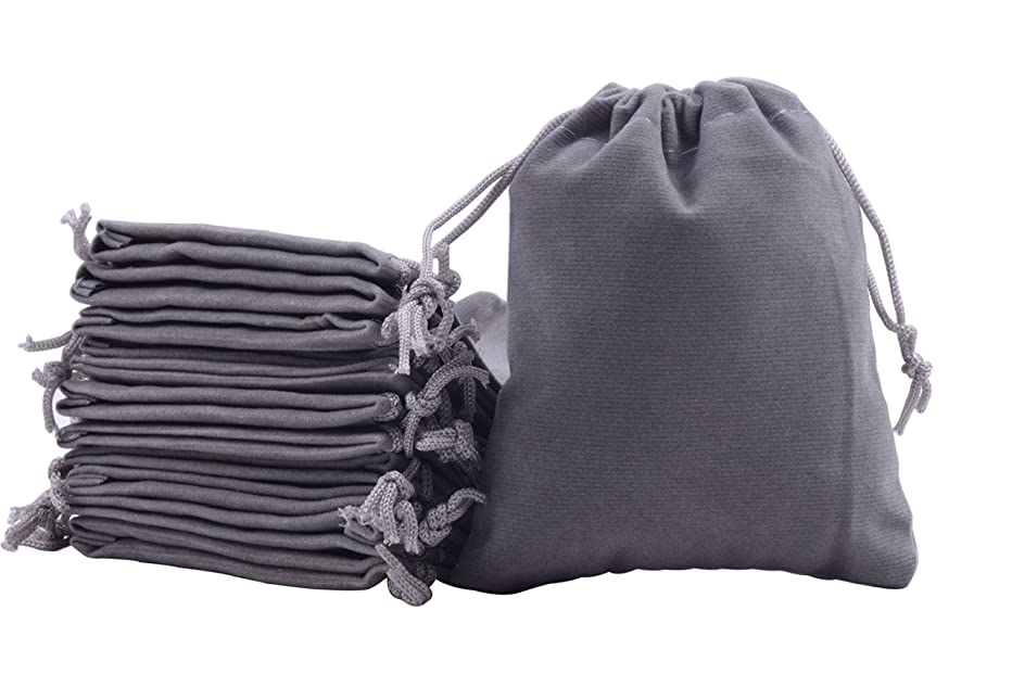 Sansam 50pcs Small Grey Drawstrings Velvet Bags for Jewelry, Gift, Wedding Favors, Candy Bags, Party Favors, 2.8x3.6''
