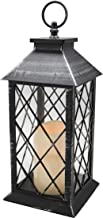 (Silver) - YAKii 30cm Decorative Candle Lantern with LED Flameless Candle and Timer, Plastic LED Candle & Holder, Indoor &...