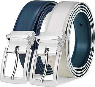 """Men's Belt, Bulliant Leather Reversible Belt 1.25"""" For Mens Dress Casual Golf Belt,One Reverse for 2 Colors"""