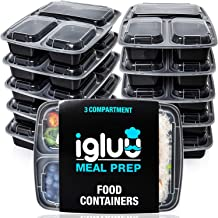 Igluu Meal Prep Containers [10 pack] 3 Compartment with Airtight Lids - Plastic Food Storage Bento Box - BPA Free - Reusab...