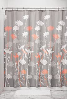 """iDesign Fabric Daizy Shower Curtain for Master, Guest, Kids', College Dorm Bathroom, 72"""" x 72"""", Gray and Coral"""