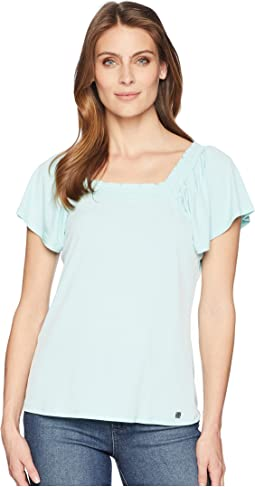 Square Neck Short Ruffle Sleeve Top with Open Hem