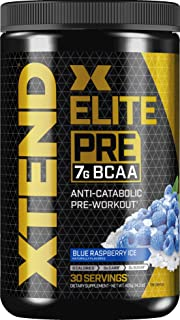 XTEND Elite Pre BCAA Powder Anti-Catabolic Pre Workout Drink with Branched Chain Amino Acids BCAAs, Blue Raspberry Ice, 30...