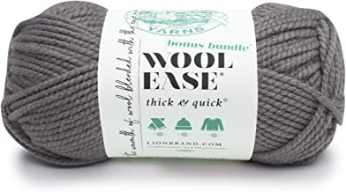 Lion Brand Yarn 641-148 Wool-Ease Thick & Quick Bonus Bundle, Slate Hometown Yarn, Quick