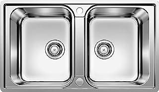 BLANCO LEMIS 8-IF - Doppelspüle für die Küche für 80 cm breite Unterschränke - Edelstahl - Mit IF-Flachrand, ohne Abtropffläche - 524276