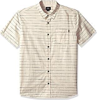 O'Neill 男士标准版型短袖梭织系扣条纹衬衫