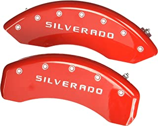MGP Caliper Covers 14005SSILRD Caliper Cover (Red Powder Coat Finish, Engraved Front and Rear: Silverado, Silver Characters, Set of 4)