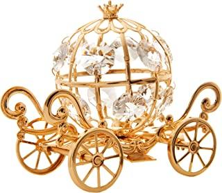 Matashi 24K Gold Plated Crystal Studded Small Cinderella Pumpkin Coach Ornament - Great Gifts idea for Valentine's Day, Birthday, Mother's Day, Christmas, Anniversary, Office Home Decor Showpiece