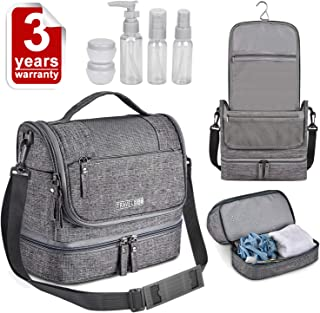 Large Hanging Travel Toiletry Bag - Makeup Bag Shaving Kit Cosmetic Organizer Waterproof Compact Multifunctional Compartment Metal Hook Best Gift for Men Women fit Business Trip Vacation Home (Gray)