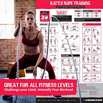 Battle Ropes with Foldable Poster and Anchor KIT. Full Body Workout Equipment for Crossfit Training, Home Gym & Fitne...