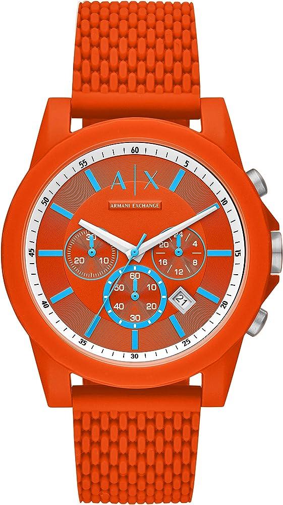 Armani exchange, orologio, cronografo da uomo, cassa rotonda in nylon, cinturino in silicone, AX1347