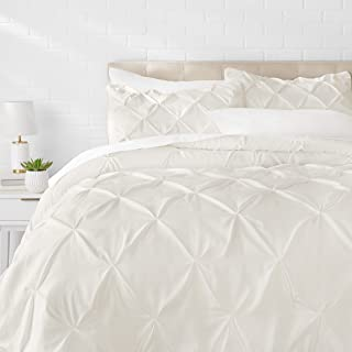 AmazonBasics Pinch Pleat Comforter Bedding Set, Full / Queen, Cream