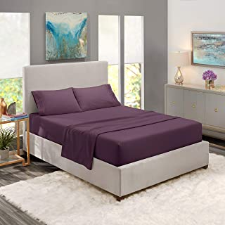 Nestl Bedding Soft Sheets Set – 4 Piece Bed Sheet Set, 3-Line Design Pillowcases – Easy Care, Wrinkle Free – Good Fit Deep Pockets Fitted Sheet – Free Warranty Included – Queen, Purple