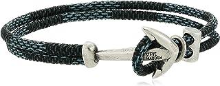 Woven Leather 7.25 Inch Anchor Hook Bracelet for Men in...