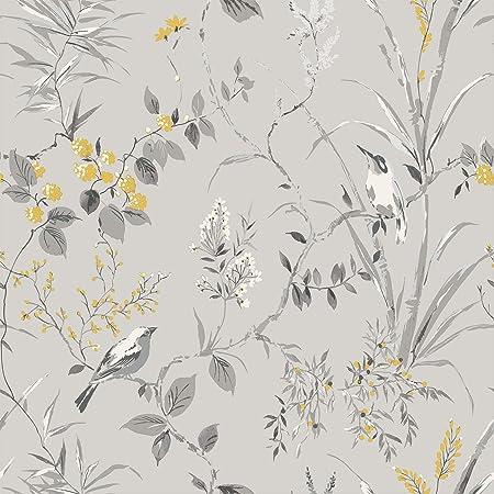 Crown M1551 Mariko Grey/Yellow Wallpaper