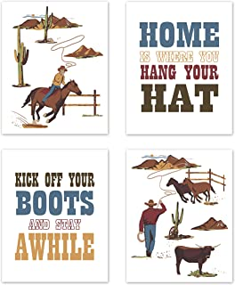 Sweet Jojo Designs Red, Blue and Tan Cowboy Southern Country Wall Art Prints Room Decor for Baby, Nursery, and Kids for Wild West Collection - Set of 4 - Hat Boots