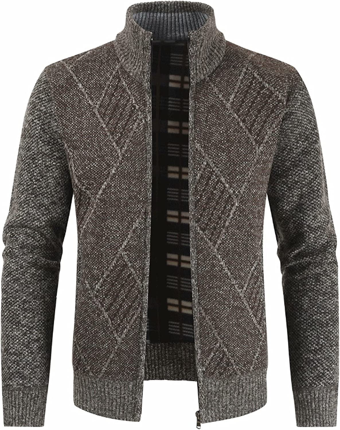 VtuAOL Men's Casual Slim Zip Sweaters Selling rankings Thick Up Cardigan Knitted Max 60% OFF