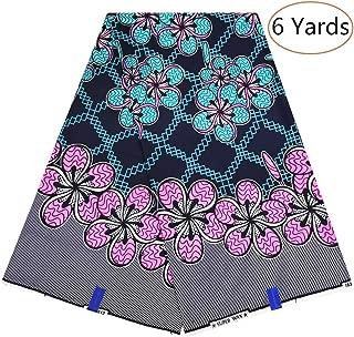 Dexuelan African Ankara Super Wax Print Fabrics 6 Yards 100% Cotton Fabric for Sewing Dress Clothing Designs (Dark Blue)