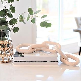 White Oak Village Wood Chain Link Decor - Hand Carved Decorative Wood Chain, 5 Link Chain Decor, Home Decor, Farmhouse Dec...