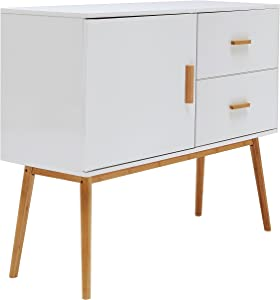 Inter Link Commode bahut bas style scandinave MDF Bambou / blanc