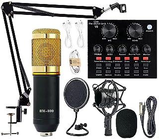 Paquete de equipo de podcast, BM-800 Kit de micrófono con tarjeta de sonido en vivo, brazo de tijera de suspensión de micr...