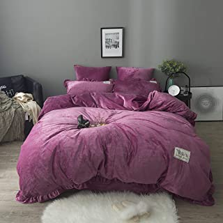 DOLDOA 100% Velvet Flannel Duvet Cover Set,3 Piece Soft Warm Bedding Comforter Cover Set Perfect for Winter,Great Gift for Famliy,Friend (Queen - 90 x 90 inch, Purple)
