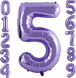 PartyMart Purple Foil Balloons Number 5, 40 inch