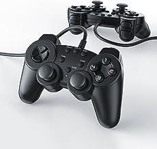 CSL - 2 x Gamepads Controlador de Mando para Playstation 2 PS2 con Doble vibración - Negro