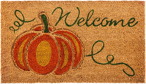 Evergreen Flag 2RM386 Welcome Pumpkin Coir Mat Multi Colored