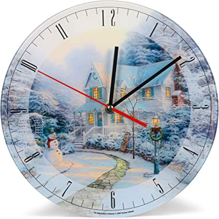 DisneyMickey /& Minnie Sweetheart BridgeXMAS Thomas Kinkade Wall Clock