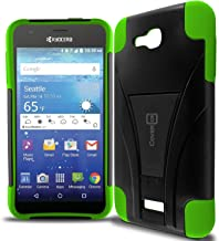 Kyocera Hydro Air Case, Kyocera Hydro Wave Case, CoverON [Dual Defense] Hybrid Kickstand Hard Cover Protective Armor Phone Case for Kyocera Hydro Air/Hydro Wave - Neon Green/Black