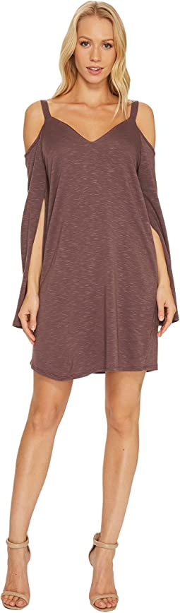 Lanston - Cold Shoulder Split Sleeve Mini Dress