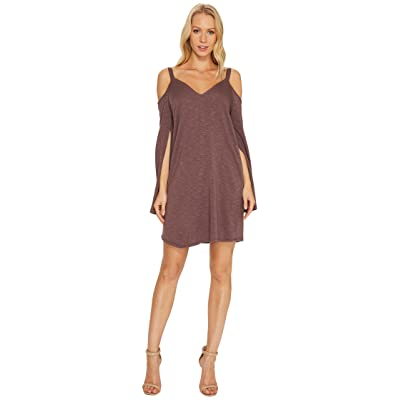 Lanston Cold Shoulder Split Sleeve Mini Dress (Aubergine) Women