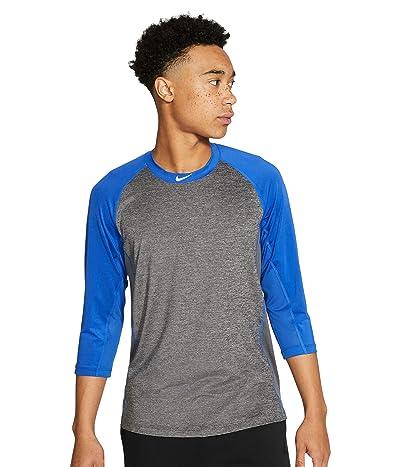 Nike Pro Dry 3/4 Top (Dark Grey Heather/Game Royal/White) Men