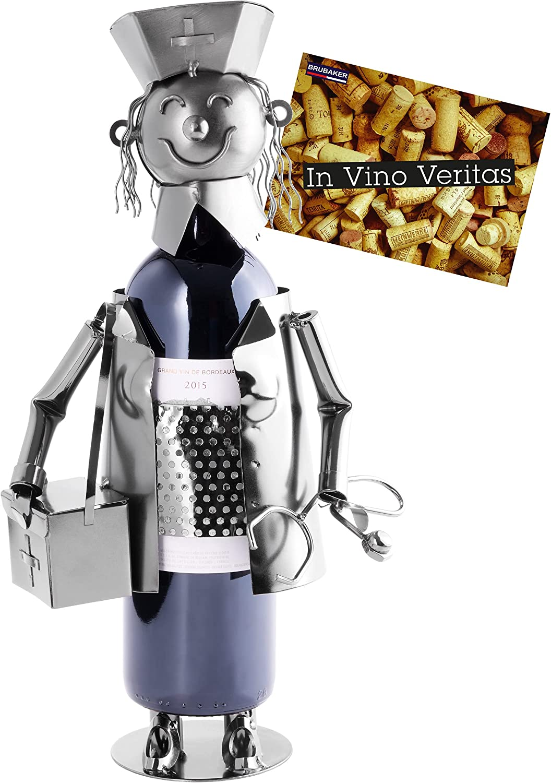 BRUBAKER Portabotellas de Vino Enfermera - Escultura de Metal Soporte de Botella - 23 cm - Regalo de Vino También para la Salud Enfermera - con Tarjeta de Felicitación