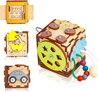 BizzzyJoy Wooden Activity Cube for Toddlers 1-3 year 6in1 Car Lacing Beads Puzzles - 3.15 х 3.15 h - Sensory Busy Board – ...
