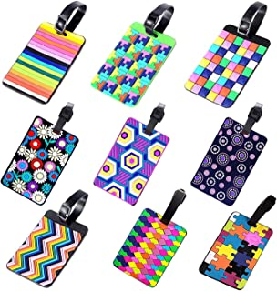 9Pcs Adjustable Strap Multicolor Tag PVC Luggage Tag Travel Suitcase Labels Travel ID Card Holder