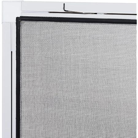 Bausatz zu Selbstmontage Fliegengitter in verschiedenen Gr/ö/ßen ausw/ählbar Insektenschutz f/ür Fenster Basic mit Alurahmen in Wei/ß Braun oder Anthrazit und Fiberglas-Gewebe in Schwarz